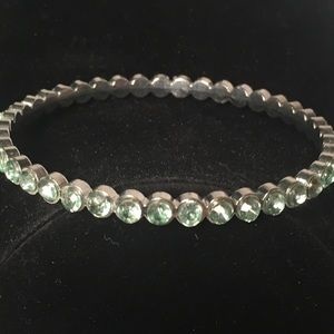 4 for $12: Silver with green crystal bracelet